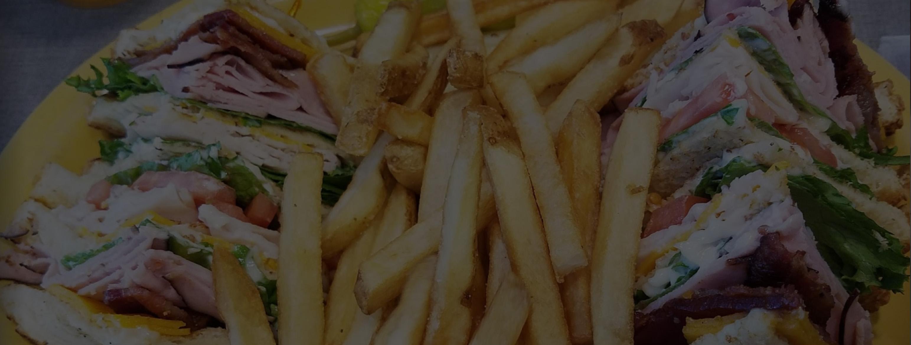 club sandwich and fries
